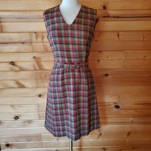1950s  Unlabeled Plaid, Wool Blend Dress